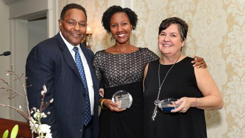 L-R: Robert Crouch, Sherilynn Black, Faculty Award, and Margaret Muir, Staff Award.